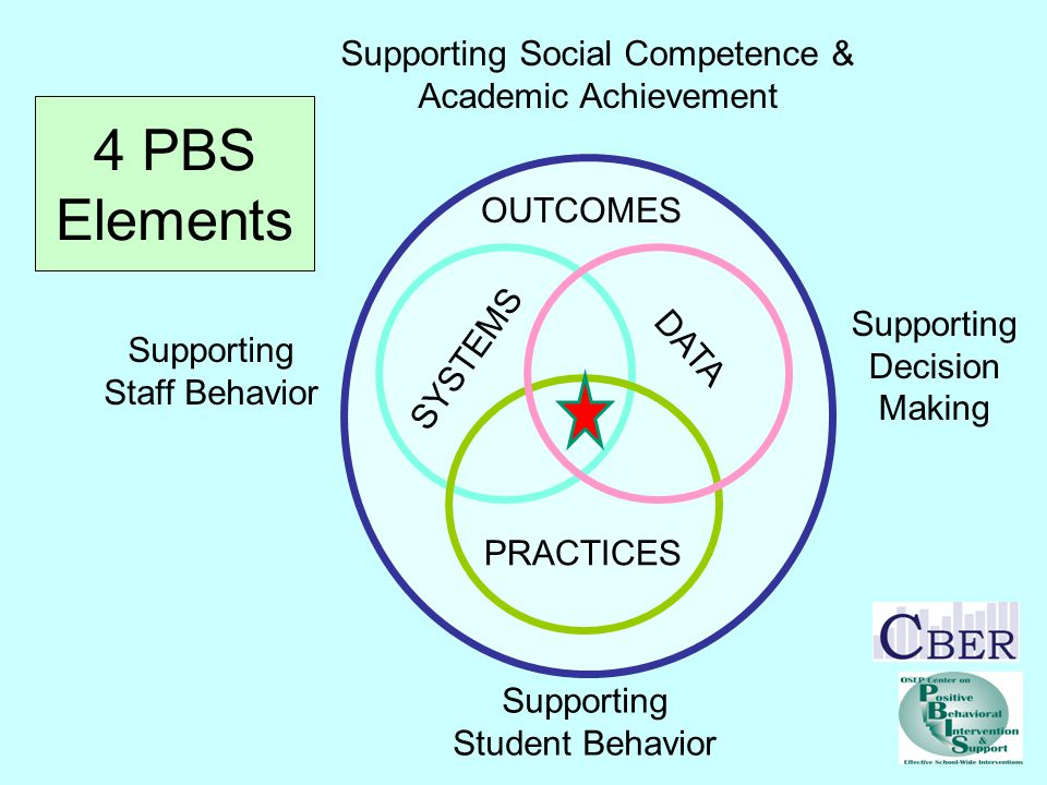 SYSTEMS PRACTICES DATA Supporting Staff Behavior Supporting Student Behavior OUTCOMES Supporting Social Competence & Academic Achievement Supporting Decision Making 4 PBS Elements