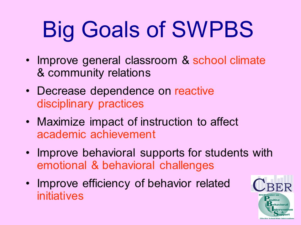 SWPBS & Achievement Good TeachingBehavior Management STUDENT ACHIEVEMENT Increasing District & State Competency &Capacity Investing in Outcomes, Data, Practices, &Systems