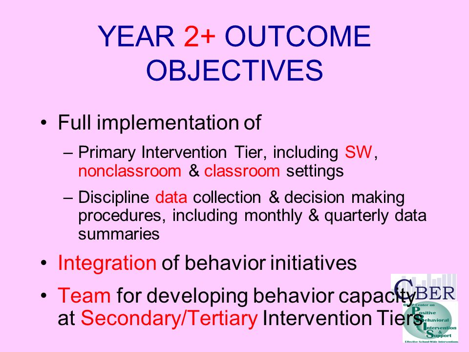 YEAR 2+ OUTCOME OBJECTIVES Full implementation of –Primary Intervention Tier, including SW, nonclassroom & classroom settings –Discipline data collection & decision making procedures, including monthly & quarterly data summaries Integration of behavior initiatives Team for developing behavior capacity at Secondary/Tertiary Intervention Tiers