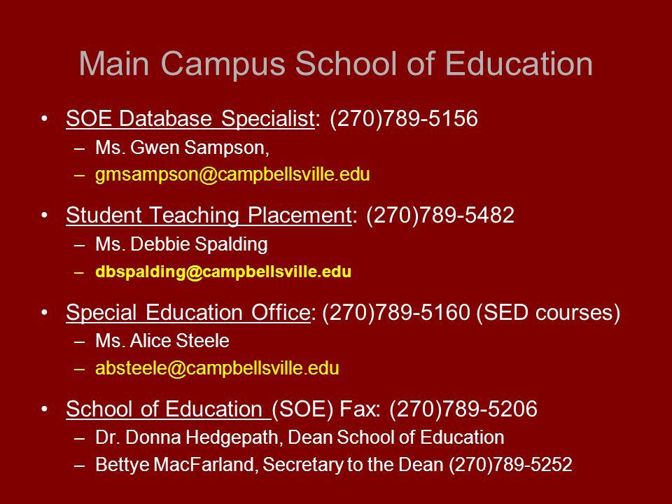 Main Campus School of Education SOE Database Specialist: (270)789-5156 –Ms.