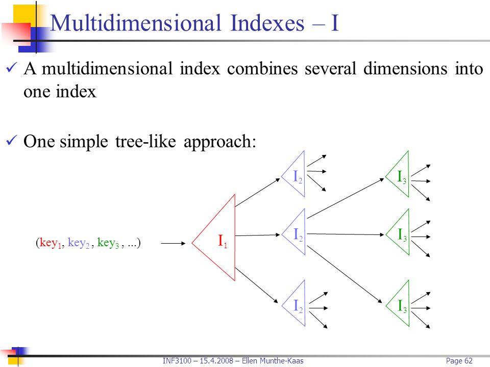 INF3100 – 15.4.2008 – Ellen Munthe-KaasPage 62 Multidimensional Indexes – I A multidimensional index combines several dimensions into one index One si