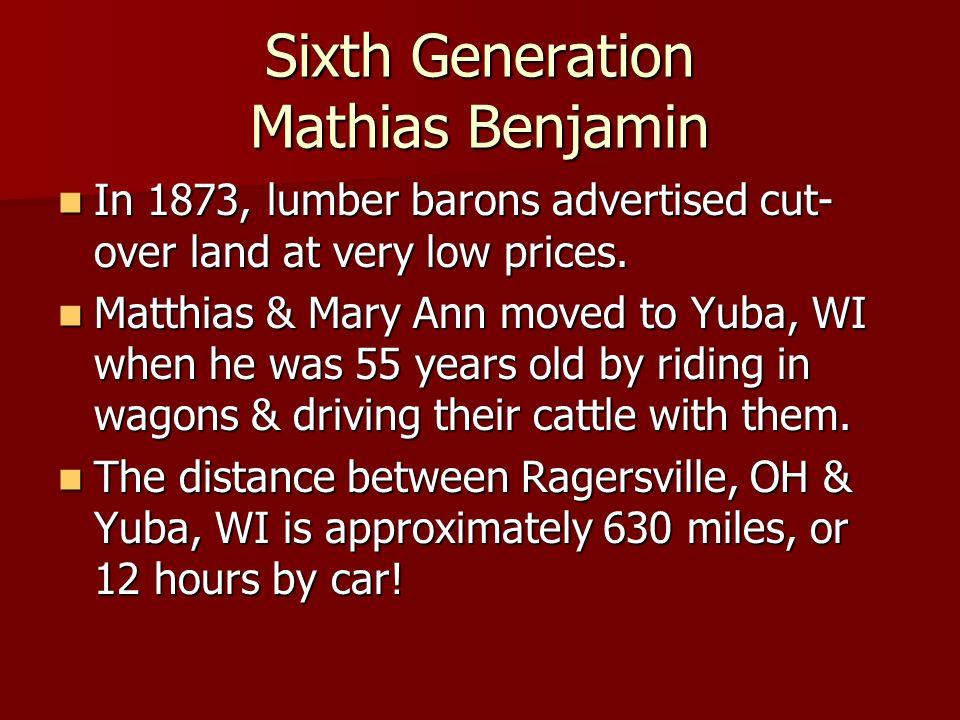 Sixth Generation Mathias Benjamin In 1873, lumber barons advertised cut- over land at very low prices.