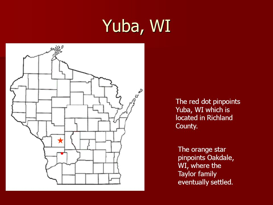 Yuba, WI The red dot pinpoints Yuba, WI which is located in Richland County.