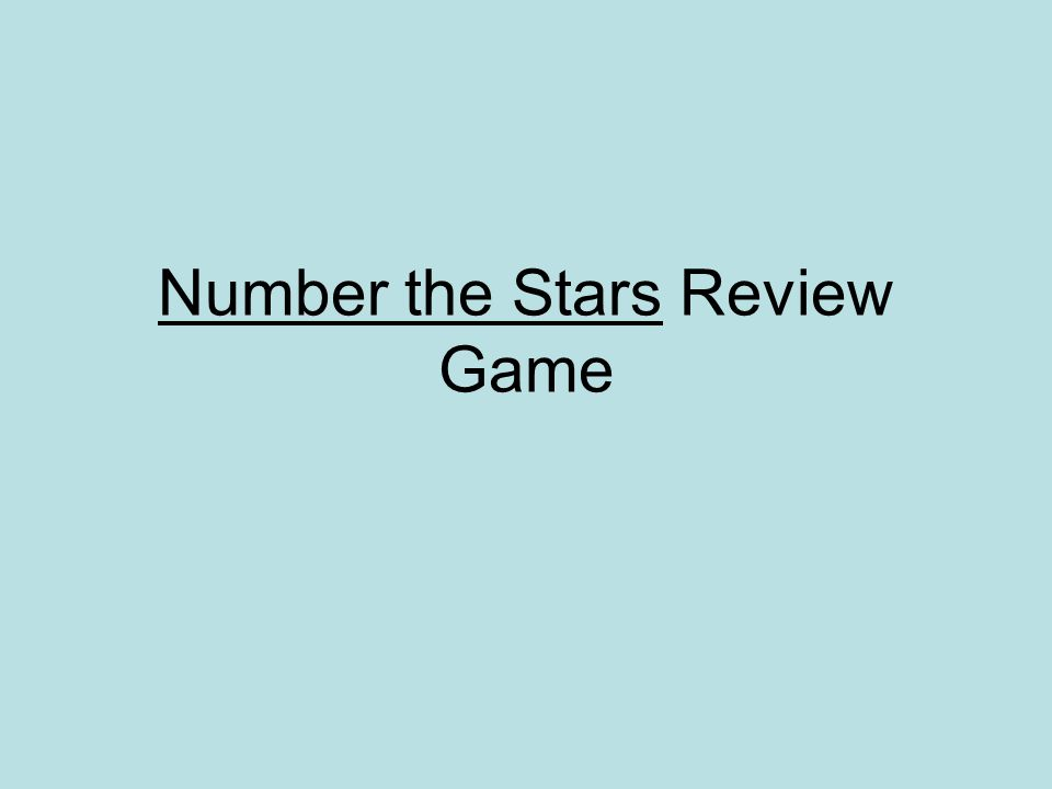 Number the Stars Review Game