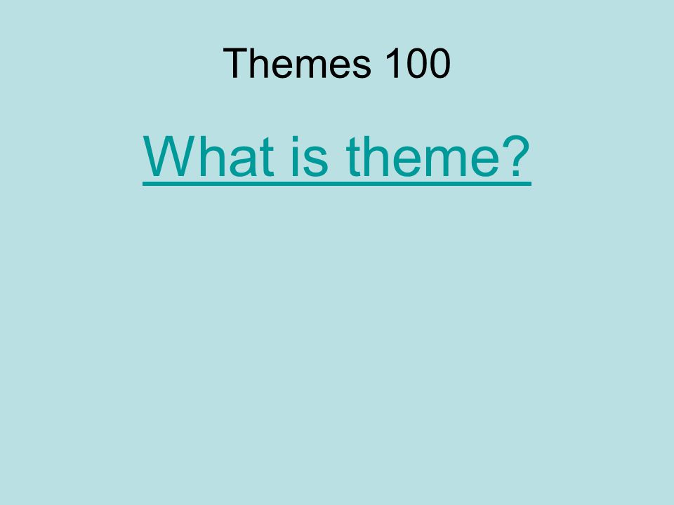 Themes 100 What is theme?