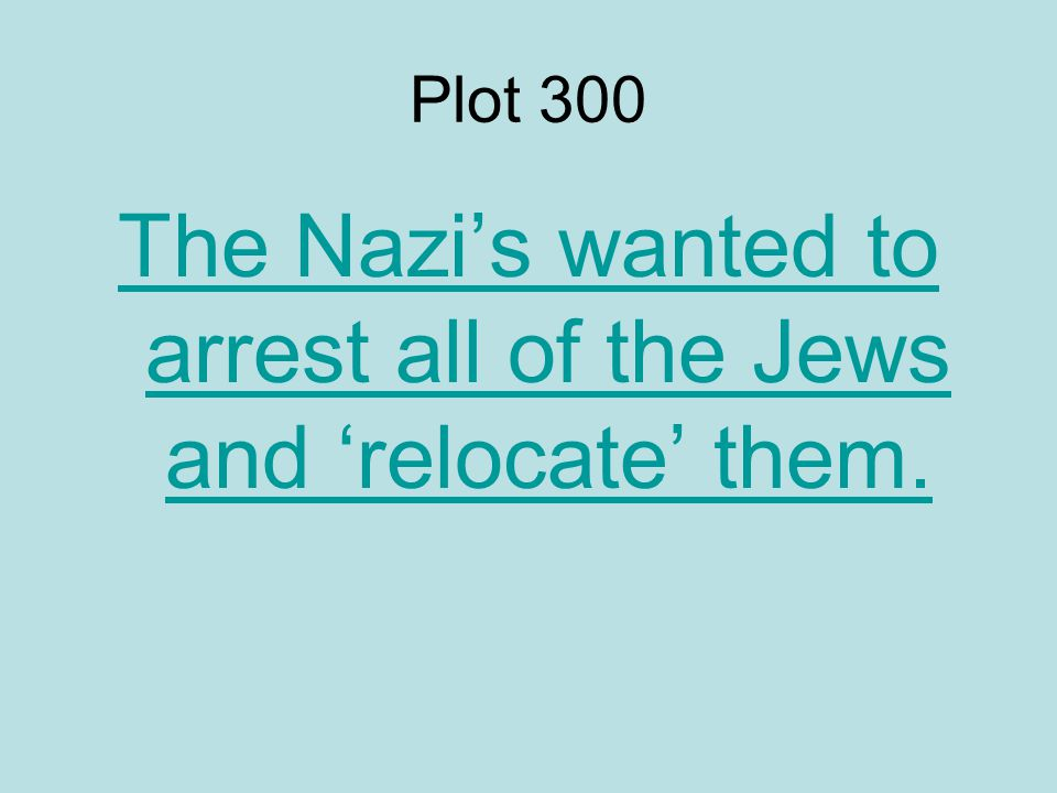 Plot 300 The Nazi's wanted to arrest all of the Jews and 'relocate' them.