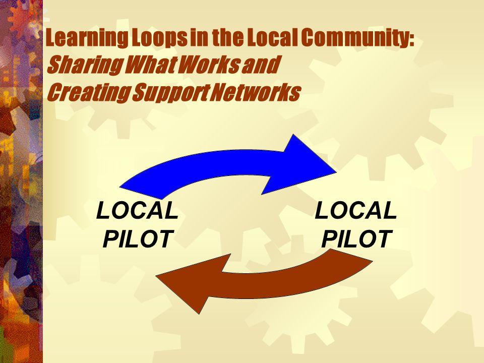 Learning Loops in the Local Community: Sharing What Works and Creating Support Networks LOCAL PILOT LOCAL PILOT