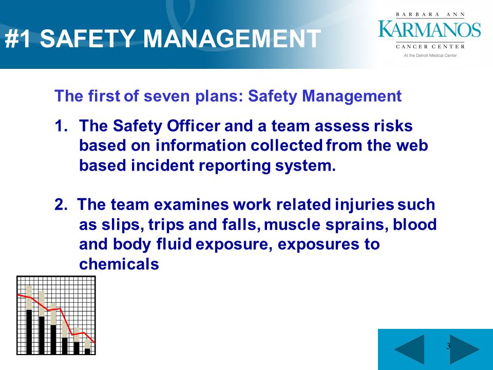 3 The first of seven plans: Safety Management 1.The Safety Officer and a team assess risks based on information collected from the web based incident