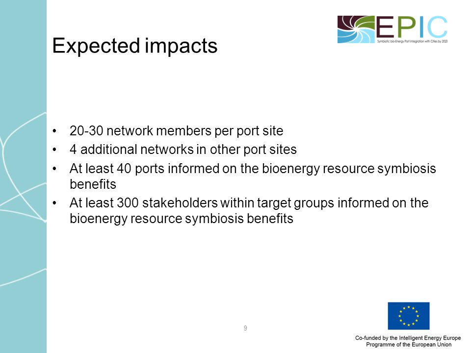 9 Expected impacts 20-30 network members per port site 4 additional networks in other port sites At least 40 ports informed on the bioenergy resource symbiosis benefits At least 300 stakeholders within target groups informed on the bioenergy resource symbiosis benefits