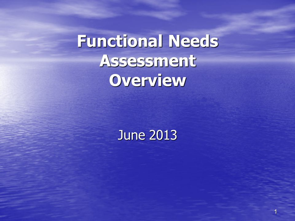 1 Functional Needs Assessment Overview June 2013