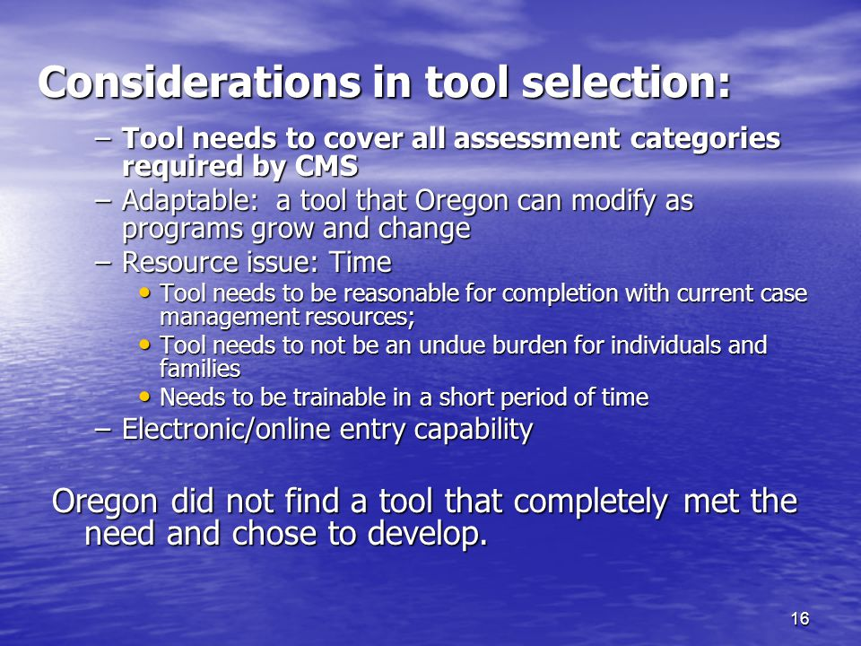 16 Considerations in tool selection: –Tool needs to cover all assessment categories required by CMS –Adaptable: a tool that Oregon can modify as progr