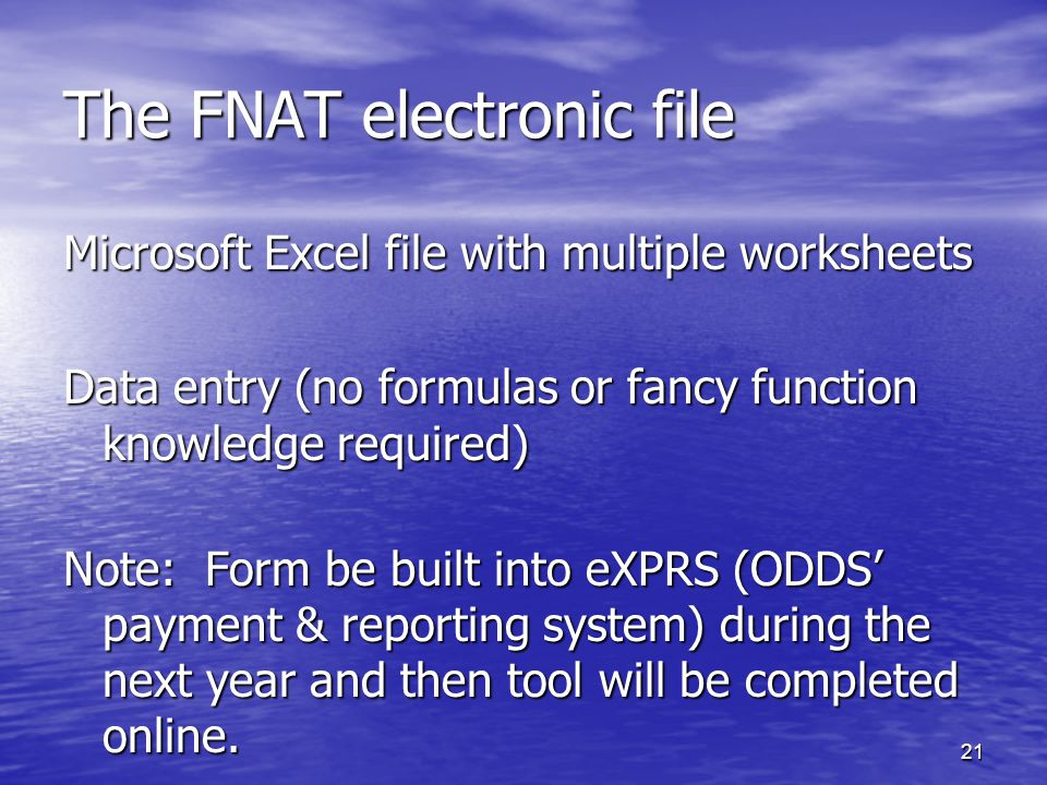 21 The FNAT electronic file Microsoft Excel file with multiple worksheets Data entry (no formulas or fancy function knowledge required) Note: Form be