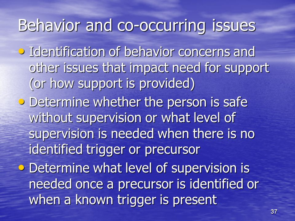 37 Behavior and co-occurring issues Identification of behavior concerns and other issues that impact need for support (or how support is provided) Ide
