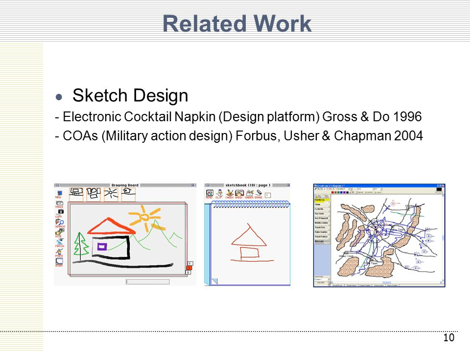 Related Work 10 Sketch Design - Electronic Cocktail Napkin (Design platform) Gross & Do 1996 - COAs (Military action design) Forbus, Usher & Chapman 2