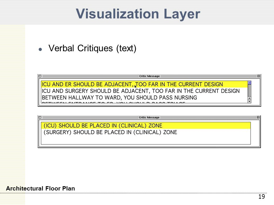 Visualization Layer Verbal Critiques (text) 19 Architectural Floor Plan