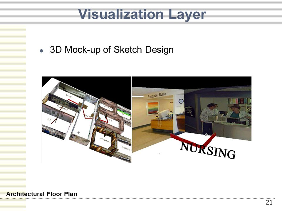 Visualization Layer 3D Mock-up of Sketch Design 21 Architectural Floor Plan