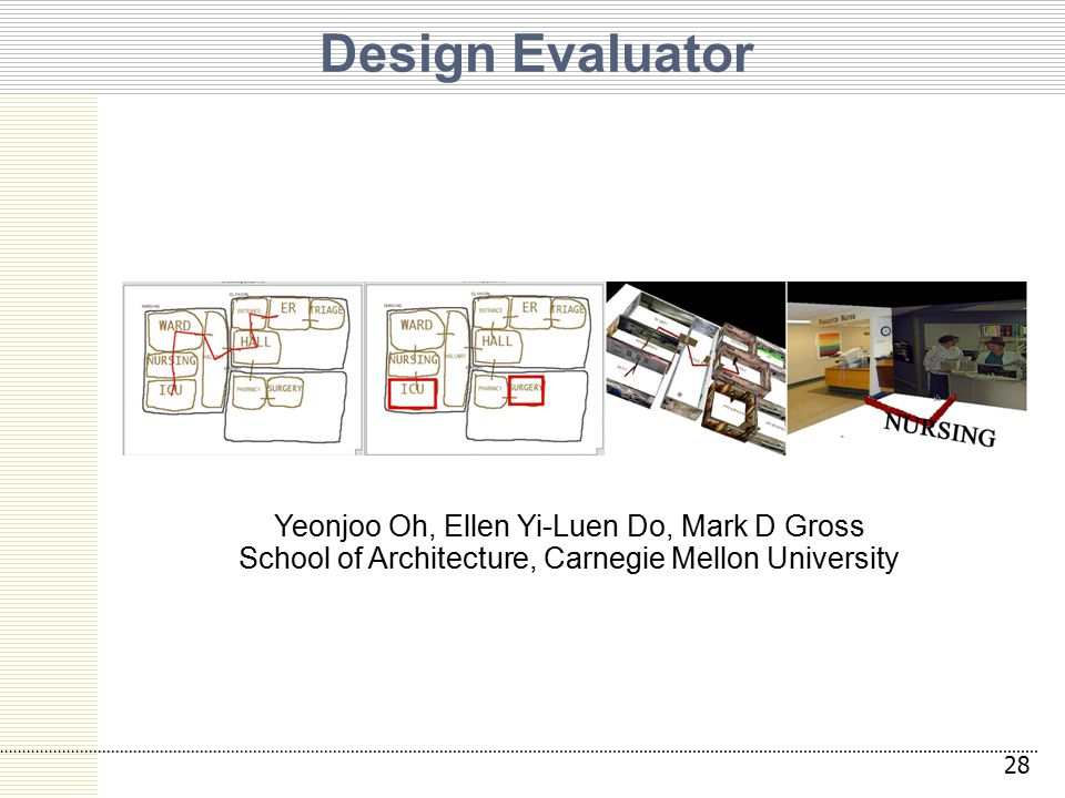 Design Evaluator Yeonjoo Oh, Ellen Yi-Luen Do, Mark D Gross School of Architecture, Carnegie Mellon University 28