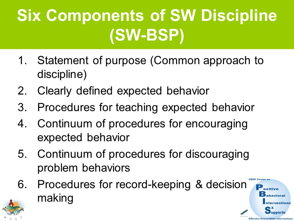 Six Components of SW Discipline (SW-BSP) 1.Statement of purpose (Common approach to discipline) 2.Clearly defined expected behavior 3.Procedures for teaching expected behavior 4.Continuum of procedures for encouraging expected behavior 5.Continuum of procedures for discouraging problem behaviors 6.Procedures for record-keeping & decision making