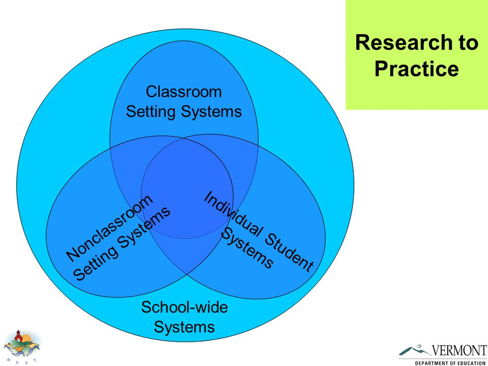 Nonclassroom Setting Systems Classroom Setting Systems Individual Student Systems School-wide Systems Research to Practice