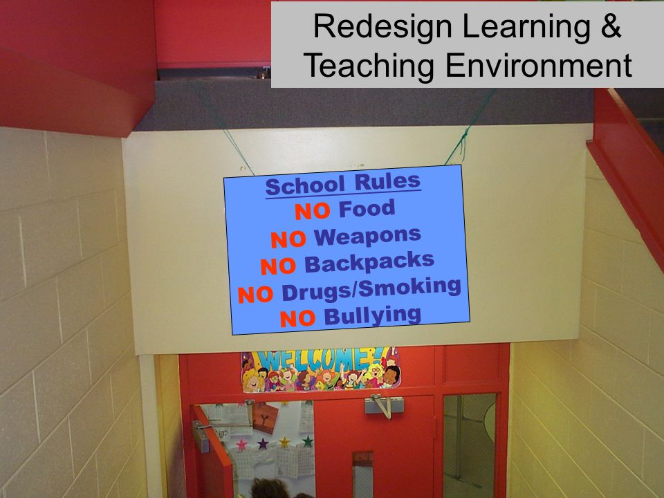 School Rules NO Food NO Weapons NO Backpacks NO Drugs/Smoking NO Bullying Redesign Learning & Teaching Environment