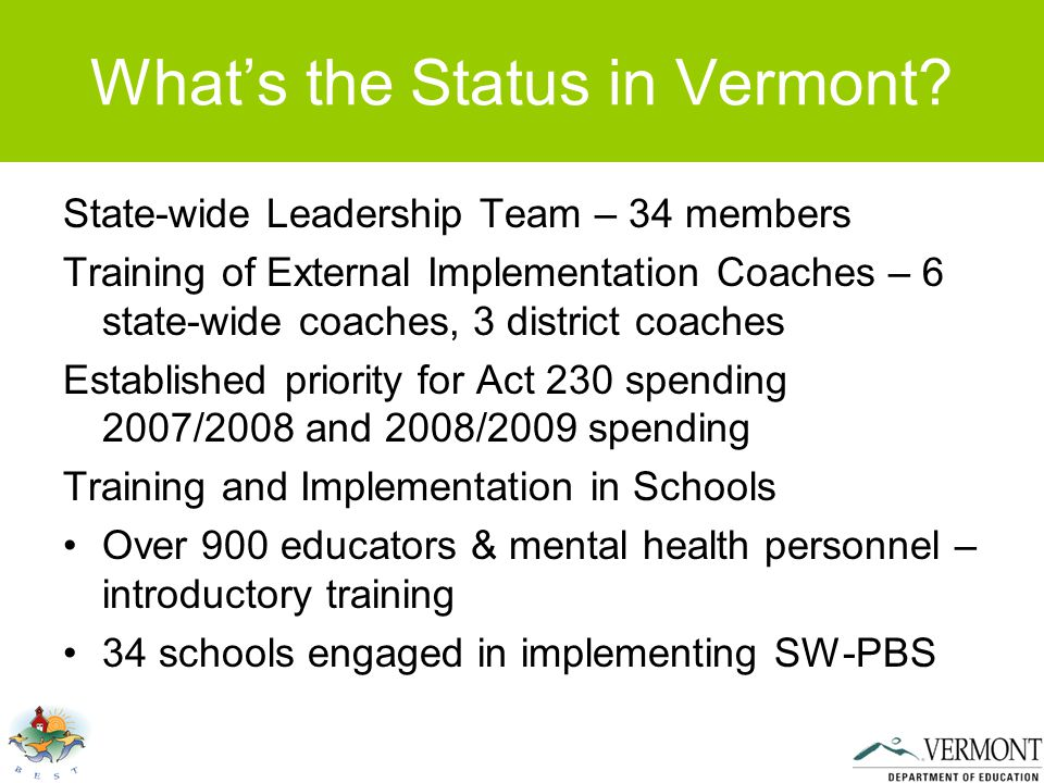 What's the Status in Vermont.