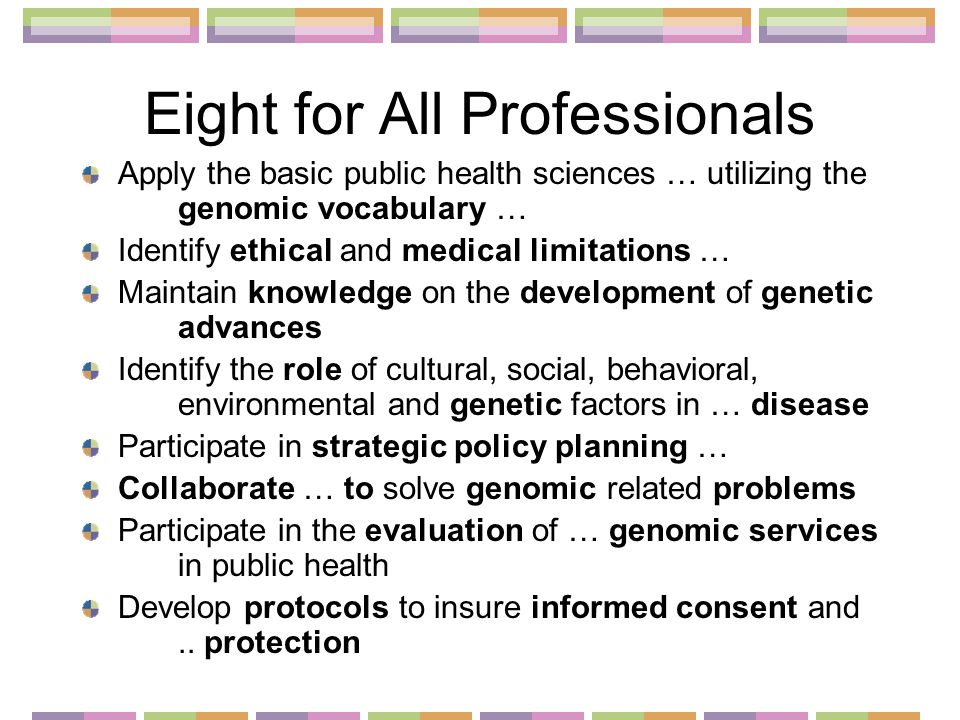 Eight for All Professionals Apply the basic public health sciences … utilizing the genomic vocabulary … Identify ethical and medical limitations … Maintain knowledge on the development of genetic advances Identify the role of cultural, social, behavioral, environmental and genetic factors in … disease Participate in strategic policy planning … Collaborate … to solve genomic related problems Participate in the evaluation of … genomic services in public health Develop protocols to insure informed consent and..