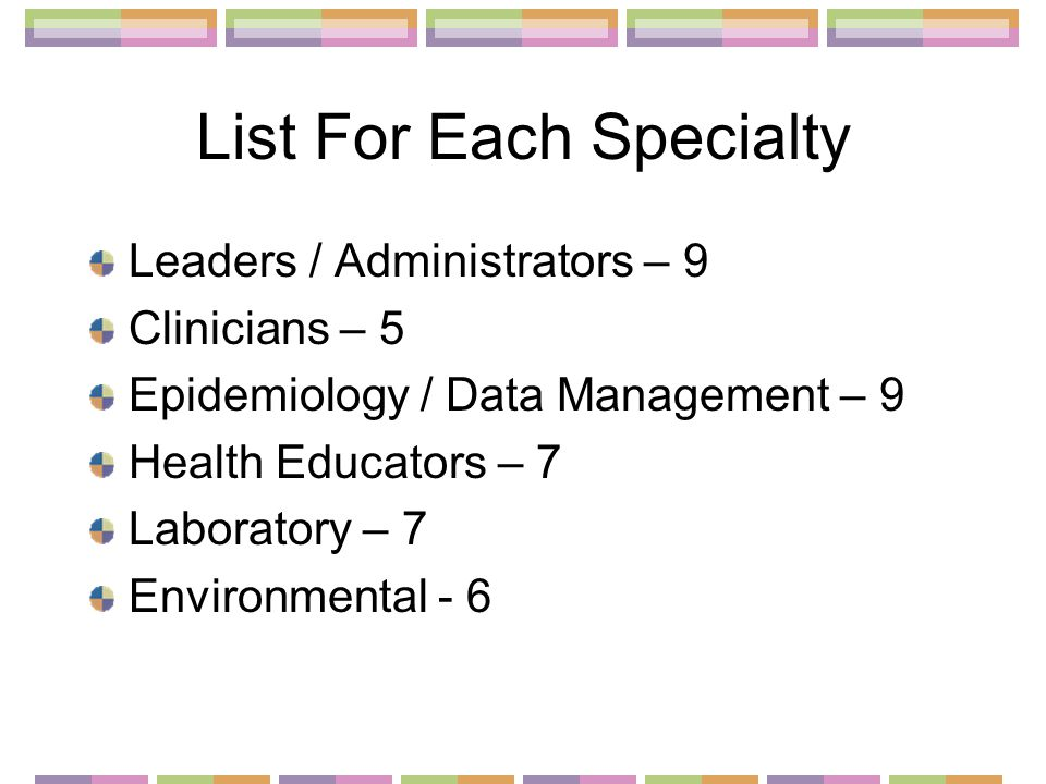 List For Each Specialty Leaders / Administrators – 9 Clinicians – 5 Epidemiology / Data Management – 9 Health Educators – 7 Laboratory – 7 Environmental - 6