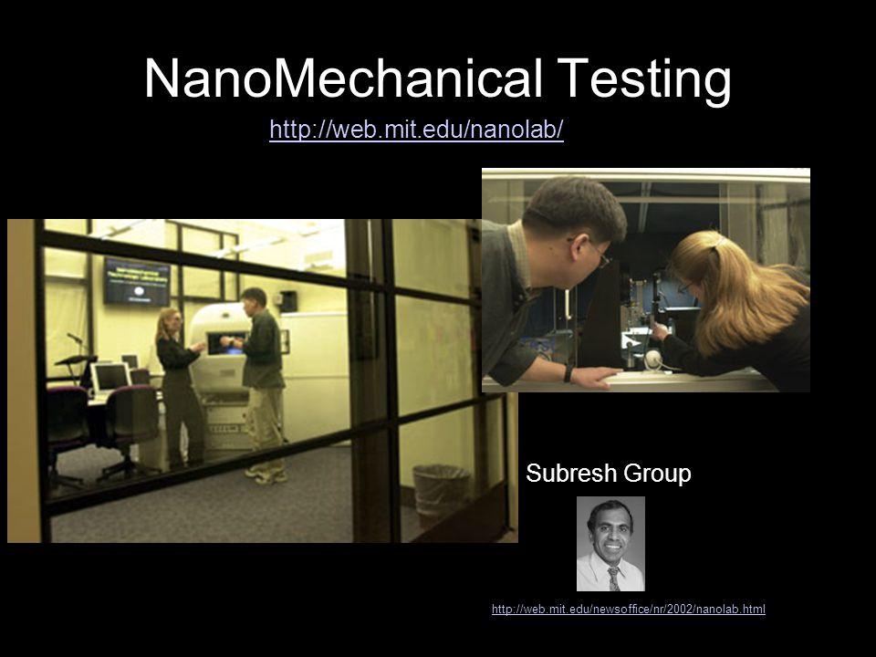 NanoMechanical Testing http://web.mit.edu/newsoffice/nr/2002/nanolab.html Subresh Group http://web.mit.edu/nanolab/
