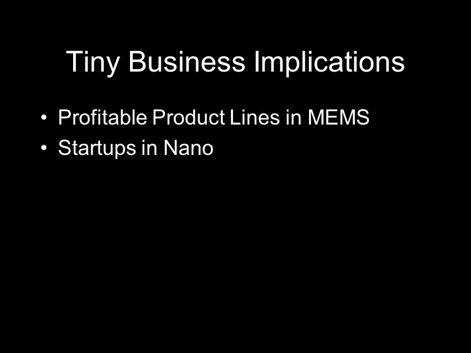 Tiny Business Implications Profitable Product Lines in MEMS Startups in Nano