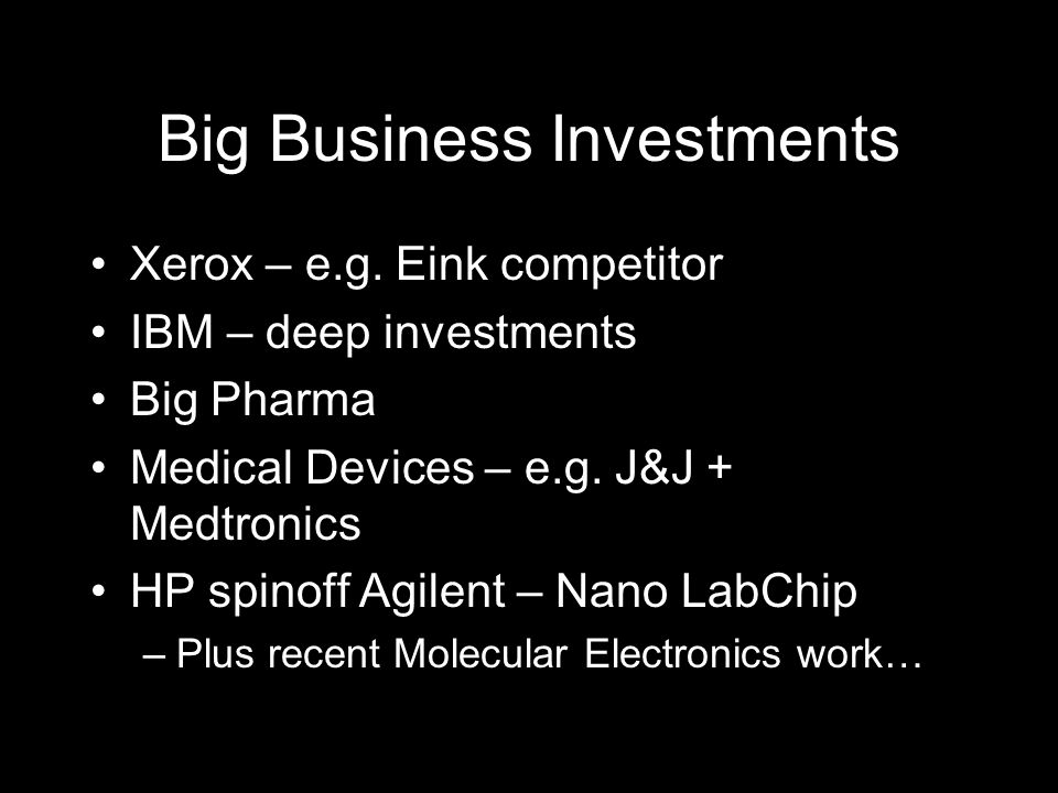 Big Business Investments Xerox – e.g.