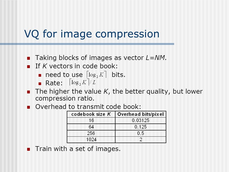 VQ for image compression Taking blocks of images as vector L=NM. If K vectors in code book: need to use bits. Rate: The higher the value K, the better