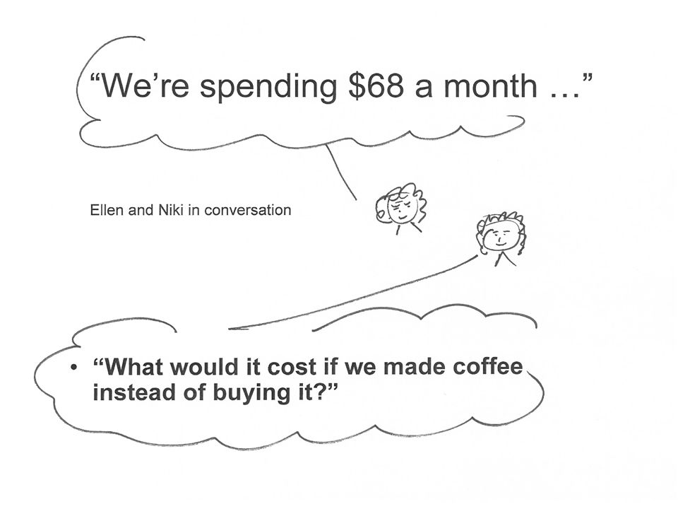 We're spending $68 a month … What would it cost if we made coffee instead of buying it Ellen and Niki in conversation