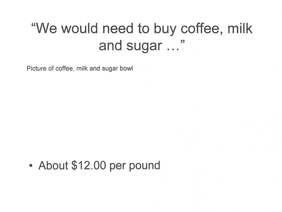 We would need to buy coffee, milk and sugar … About $12.00 per pound Picture of coffee, milk and sugar bowl