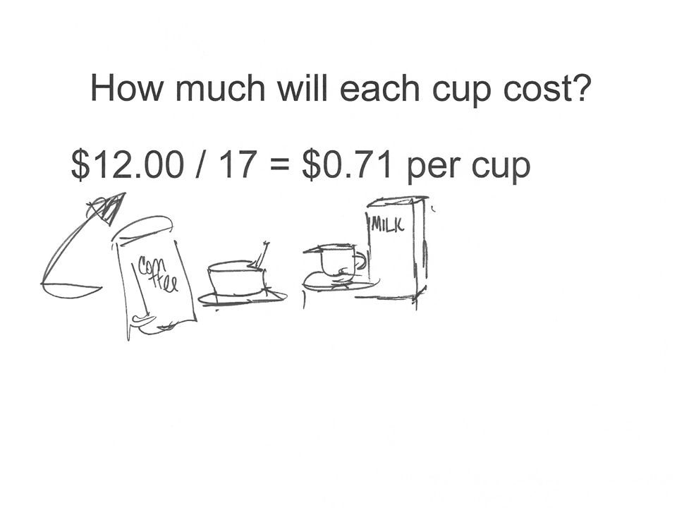 How much will each cup cost $12.00 / 17 = $0.71 per cup