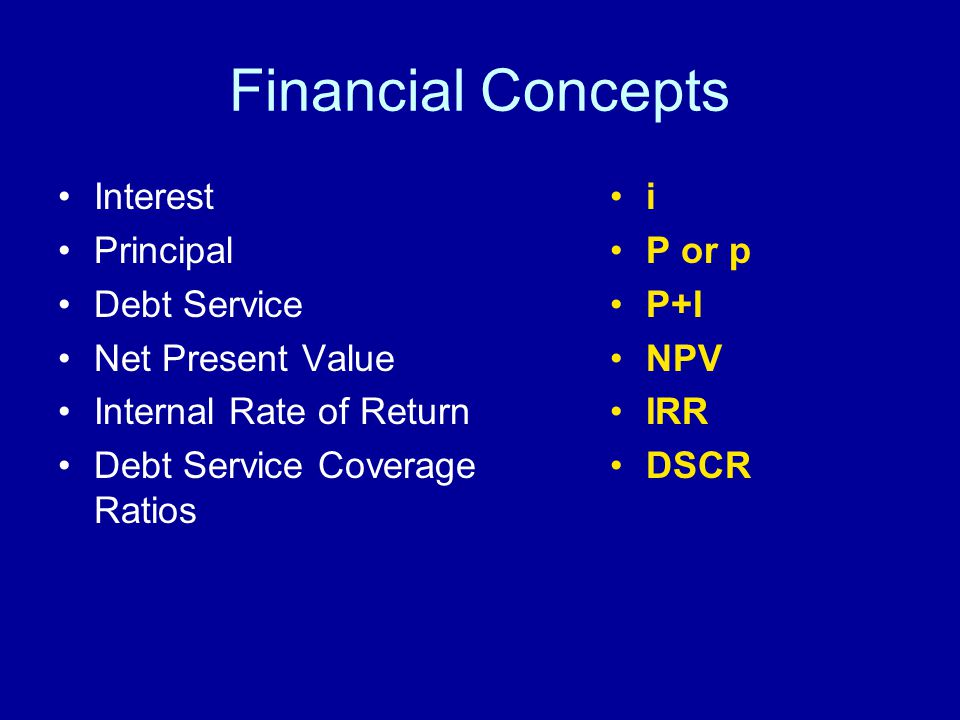Financial Concepts Interest Principal Debt Service Net Present Value Internal Rate of Return Debt Service Coverage Ratios i P or p P+I NPV IRR DSCR