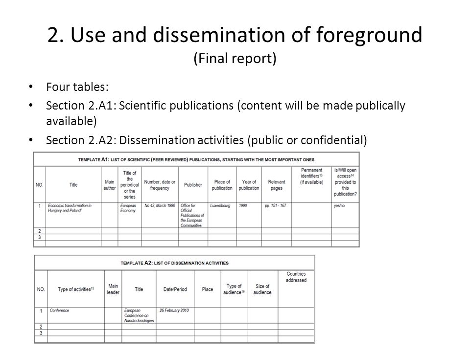 2. Use and dissemination of foreground (Final report) Four tables: Section 2.A1: Scientific publications (content will be made publically available) S