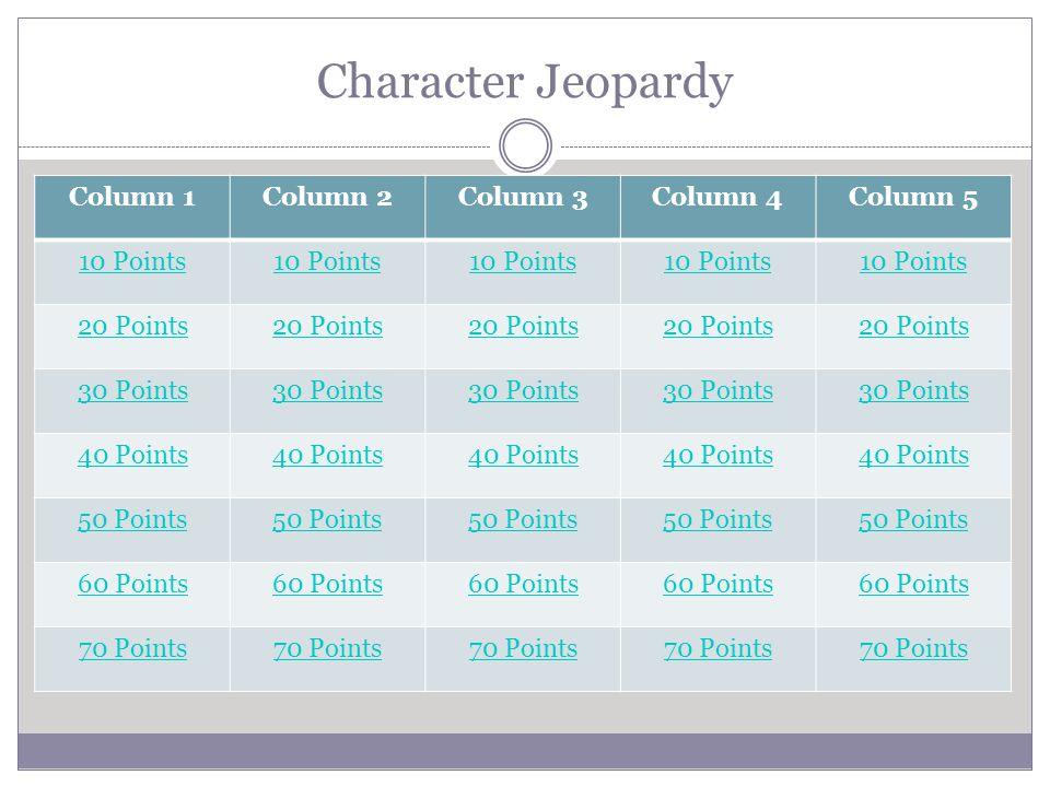 Character Jeopardy Column 1Column 2Column 3Column 4Column 5 10 Points 20 Points 30 Points 40 Points 50 Points50 Points50 Points50 Points50 Points 60 P