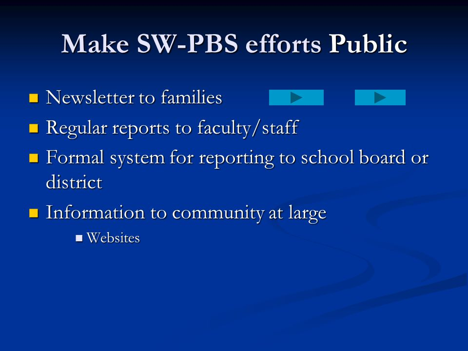 Make SW-PBS efforts Public Newsletter to families Newsletter to families Regular reports to faculty/staff Regular reports to faculty/staff Formal syst