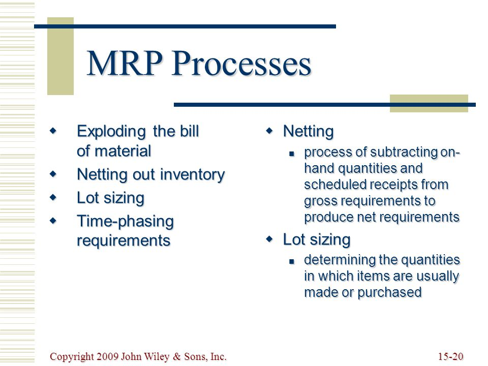 Copyright 2009 John Wiley & Sons, Inc.15-20 MRP Processes  Exploding the bill of material  Netting out inventory  Lot sizing  Time-phasing requirements  Netting process of subtracting on- hand quantities and scheduled receipts from gross requirements to produce net requirements process of subtracting on- hand quantities and scheduled receipts from gross requirements to produce net requirements  Lot sizing determining the quantities in which items are usually made or purchased determining the quantities in which items are usually made or purchased