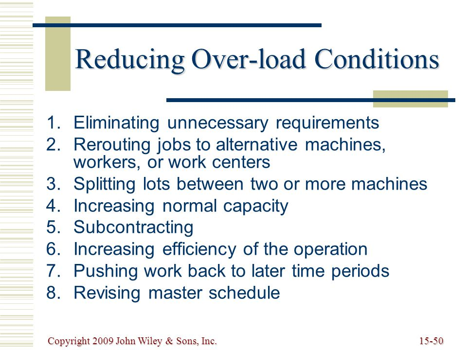 Copyright 2009 John Wiley & Sons, Inc.15-50 Reducing Over-load Conditions   Eliminating unnecessary requirements   Rerouting jobs to alternative machines, workers, or work centers   Splitting lots between two or more machines   Increasing normal capacity   Subcontracting   Increasing efficiency of the operation   Pushing work back to later time periods   Revising master schedule
