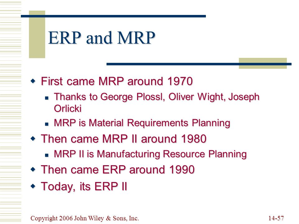 Copyright 2006 John Wiley & Sons, Inc.14-57 ERP and MRP  First came MRP around 1970 Thanks to George Plossl, Oliver Wight, Joseph Orlicki Thanks to George Plossl, Oliver Wight, Joseph Orlicki MRP is Material Requirements Planning MRP is Material Requirements Planning  Then came MRP II around 1980 MRP II is Manufacturing Resource Planning MRP II is Manufacturing Resource Planning  Then came ERP around 1990  Today, its ERP II
