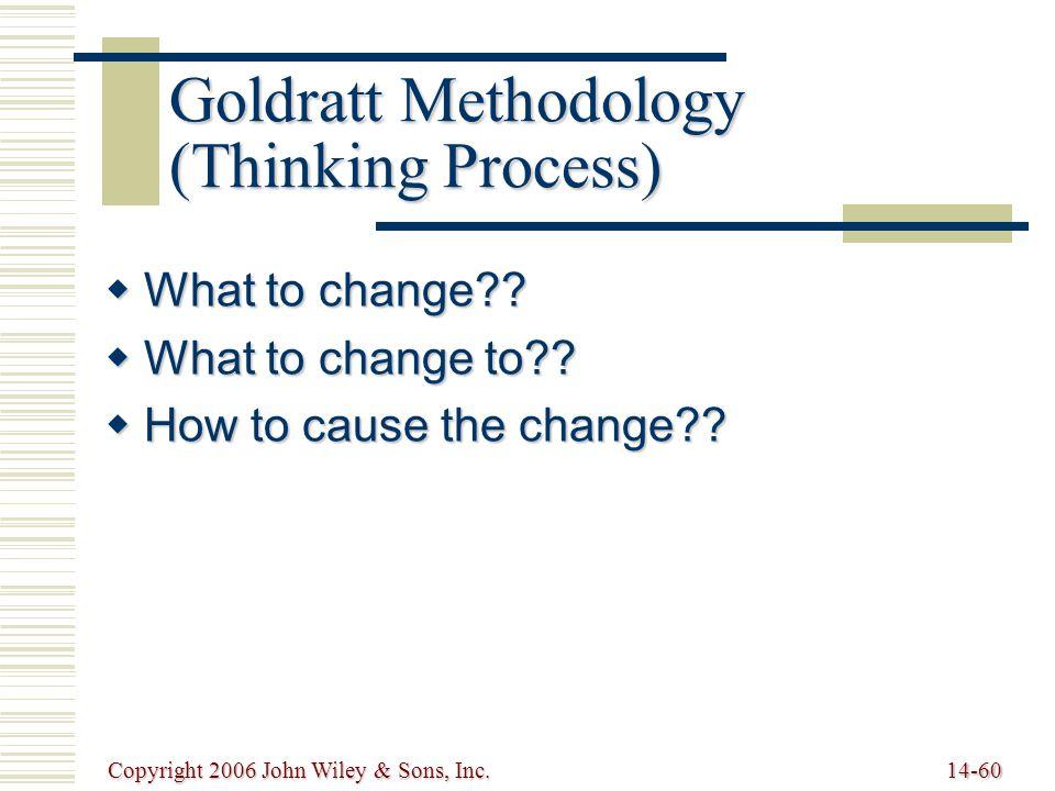 Copyright 2006 John Wiley & Sons, Inc.14-60 Goldratt Methodology (Thinking Process)  What to change?.