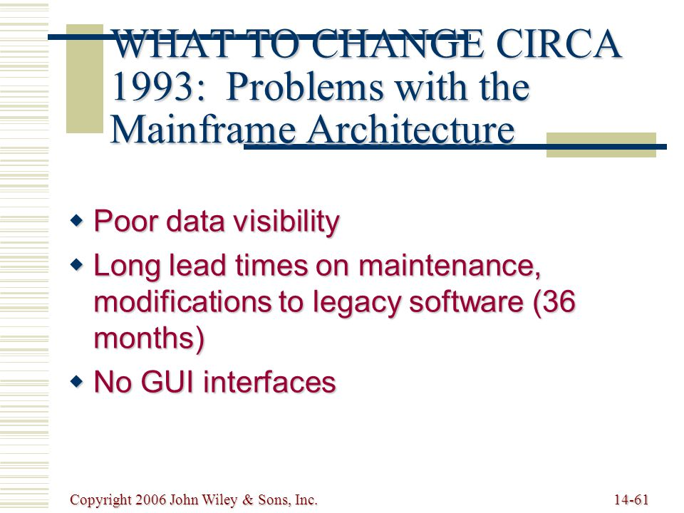 Copyright 2006 John Wiley & Sons, Inc.14-61 WHAT TO CHANGE CIRCA 1993: Problems with the Mainframe Architecture  Poor data visibility  Long lead times on maintenance, modifications to legacy software (36 months)  No GUI interfaces