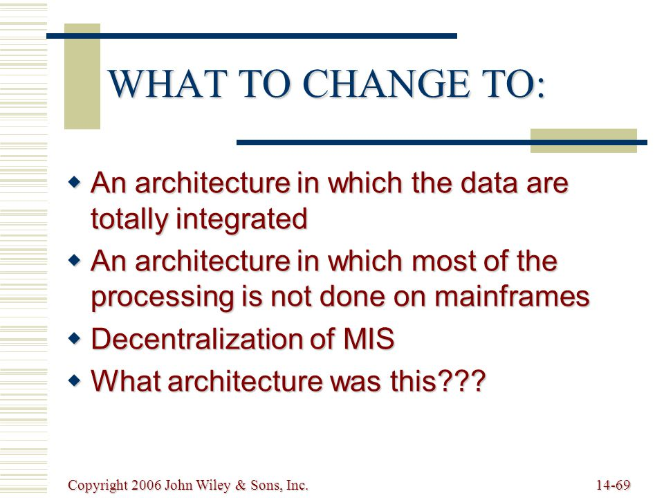 Copyright 2006 John Wiley & Sons, Inc.14-69 WHAT TO CHANGE TO:  An architecture in which the data are totally integrated  An architecture in which most of the processing is not done on mainframes  Decentralization of MIS  What architecture was this???