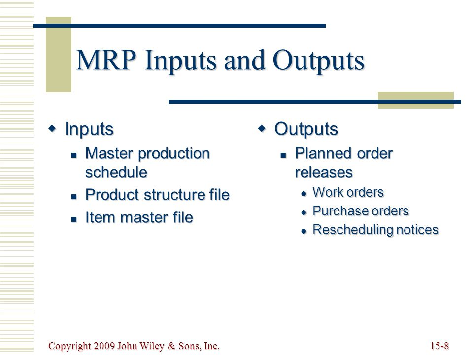 Copyright 2009 John Wiley & Sons, Inc.15-8 MRP Inputs and Outputs  Inputs Master production schedule Master production schedule Product structure file Product structure file Item master file Item master file  Outputs Planned order releases Planned order releases Work orders Work orders Purchase orders Purchase orders Rescheduling notices Rescheduling notices