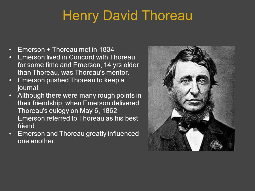 Henry David Thoreau Emerson + Thoreau met in 1834 Emerson lived in Concord with Thoreau for some time and Emerson, 14 yrs older than Thoreau, was Thoreau s mentor.
