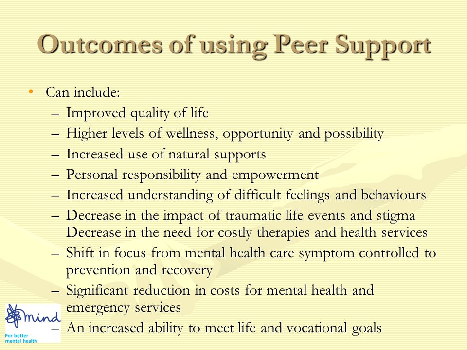 How Peer Support Works Working in a relationship with someoneWorking in a relationship with someone AgreementAgreement Take turnsTake turns ListenListen EmpathyEmpathy SupportSupport HonestHonest ReliableReliable