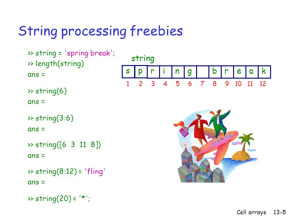 Cell arrays13-5 String processing freebies >> string = spring break ; >> length(string) ans = >> string(6) ans = >> string(3:6) ans = >> string([6 3 11 8]) ans = >> string(8:12) = fling ans = >> string(20) = * ; ringbreak 12345678910 string ps 1112