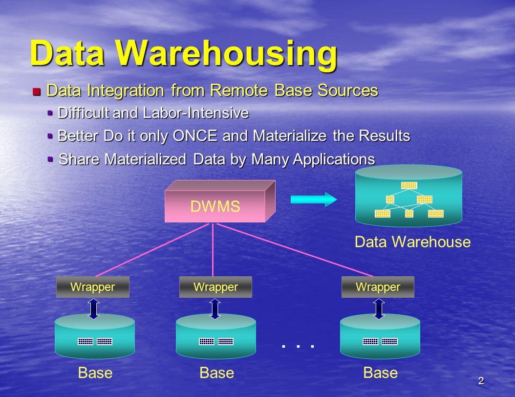 2 Data Warehousing Data Warehouse Wrapper... DWMS Wrapper Base Wrapper Base Data Integration from Remote Base Sources Data Integration from Remote Bas