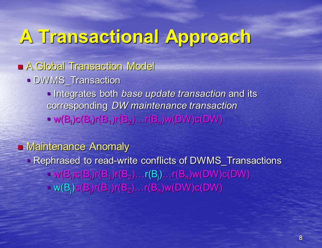 9 Serializability of DWMS_Transaction Theorem Theorem  A history of DWMS_Transactions S is serializable iff it is equivalent to some serial schedule S' of the iff it is equivalent to some serial schedule S' of the same DWMS_Transactions.